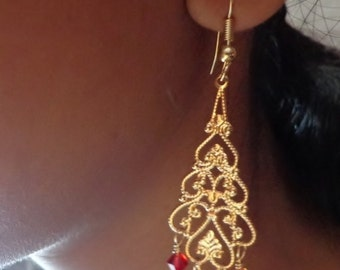 Fire opal Swarovski, gold filigree chandelier earrings