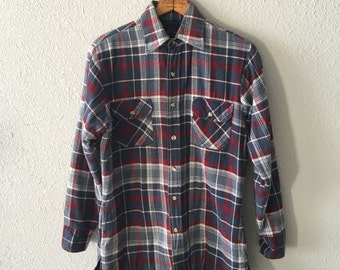 1980's Puffer Vintage Flannel Blue Plaid Shirt by Country Touch