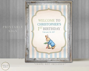 Peter Rabbit Birthday Printable Sign, Peter Rabbit Birthday Printable Welcome Sign, Peter Rabbit Birthday Boy Birthday Sign, 026-B