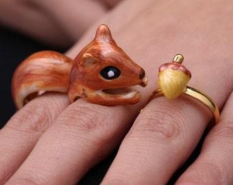 Enamel 3 Piece Squirrel and Acorn Ring