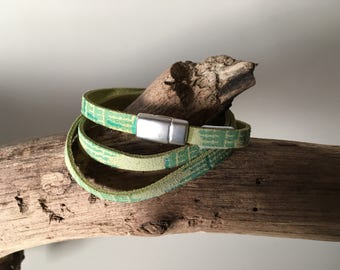 Wrap Bracelet by two-tone leather with magnetic closure, two bracelets in one!!!