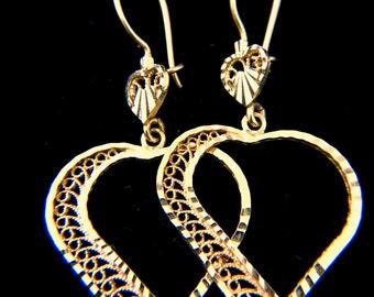 14k yellow gold filigree heart shaped earrings