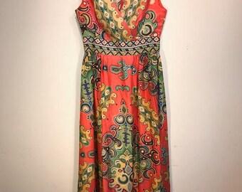 Vintage 1960's Printed Maxi Dress
