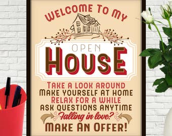 Welcome To My Open House, Open House Sign, Open House, Open House Sign In, Open House Flyer, Realty, Realty Marketing, Real Estate, House