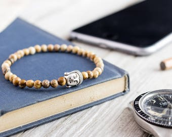 4mm - Jasper stone beaded silver Buddha stretchy bracelet, custom made yoga bracelet, beaded mens bracelet, womens bracelet