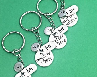 BFF for 4 Gift, Best friends keychain - set of four,always charm, 4 bff keychain,set of 4 best friend, friends always and forever, bff gift