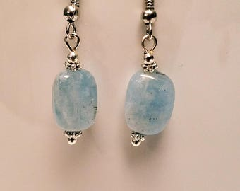 Genuine Aquamarine Gemstone Earrings, March Birthstone