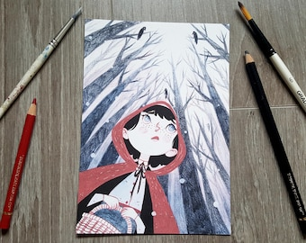 Little Red Riding Hood A5 Glicee Print - Fairy Tale - Wall Art - Illustration - Painting - Woodland - Watercolour - Ink
