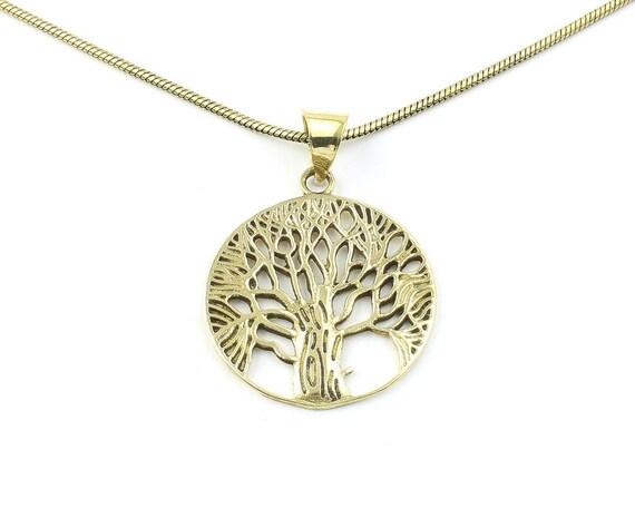 Tree of Life Necklace, Brass Tree Pendant, Festival Jewelry, Boho, Bohemian, Gypsy, Celtic, Hippie, Family Tree, Yoga Jewelry, Spiritual