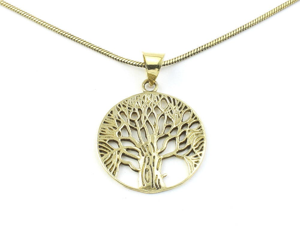 Tree of life necklace brass tree pendant festival jewelry for Breastmilk jewelry tree of life
