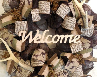 Hunting Wreath, Cabin wreath, deer wreath, hunting wreaths, cabin wreaths, deer wreaths, gift for dad, dad wreath, hunting decor, cabin