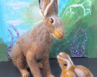 Needle Felted Mother Hare and her Leveret