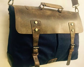 Leather messenger bag // leather and canvas messenger // mens leather bag // leather bag // leather satchel // mens messenger bag
