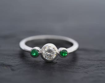 Moissanite Ring in 925 Sterling silver-mojssanite and Emerald Three Stone Ring-Emerald Ring-Moissanite Engagement Ring-Ready to Ship
