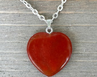 Carnelian Pendant Necklace - Crystal Heart Necklace - Carnelian Necklace - Crystal Stone Pendant - Reiki Infused Crystal - Heart Pendant