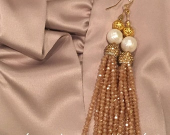 SALE | Tassel Earrings -CHAMPAGNE, NUDE, pearl and gold, beaded, dressy, party jewelry, bridal