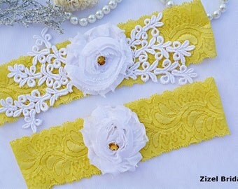 Yellow Garter, Wedding Garter Set, Flower Garter, Lace Wedding Garter, Bridal Garter, White Wedding Gift, Handmade Garter, Bridal Garter Set