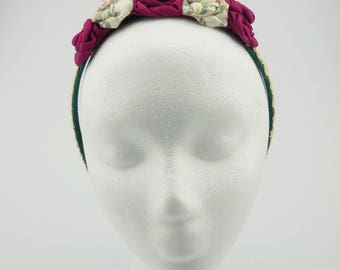 Flower Headband (green, ivory, lace)