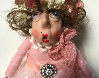 Cloth Doll, Wood Doll, Whimsical Doll, Polymer Clay Doll, Shabby Chic Lady