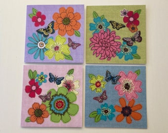 Set of 4 greeting cards - all occasion cards - free motion embroidery prints - flowers/butterflies