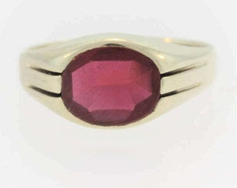 Antique Men's Ruby Ring- 10k Yellow Gold