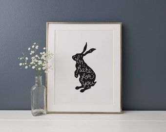 Hare For You // 8 x 10 Illustration Print // Premium 100% Recycled Paper // Vintage, Black and White Wall Art, Home, Sympathy, Pun