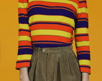 1970's Vintage Primary Color Stripe Turtleneck