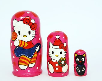 Hello Kitty wooden nesting doll Hand Painted Russian Nesting Doll of Hello Kitty