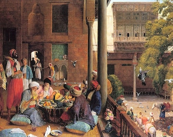Old Arab Banquet - Egyptian Art - Arabian Art - Handmade Oil Painting On Canvas