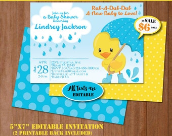 Rubber Duck Baby Shower Invitation-Self-Editing Rubber Ducky Baby Shower Invite-Printable Yellow Duck Party-Splish Splash Party-B408-B