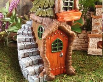 Fairy Garden Tree House, Resin Fairy Garden House For your Fairy Garden, Woodland Fairy House, House in Tree Trunk with Staircase
