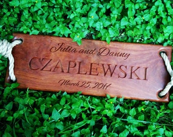 Custom Engraved Tree Swing - Brazilian Walnut