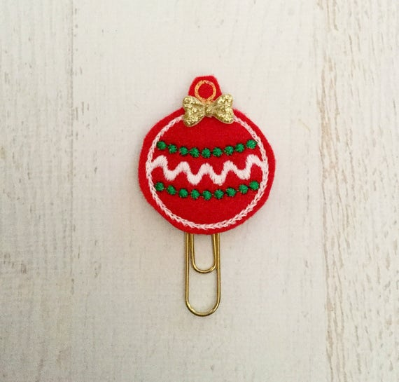 Christmas Ball Decoration Planner Clip Felt Paper Clip Bookmark or Refrigerator Magnet or Brooch Pin Planner Accessories Cute