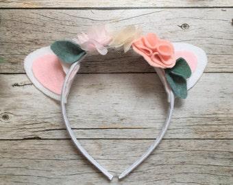 Easter Headband- Lamb Headband- Felt Flower Headband - Little Lamb Headband, Easter Flower headband