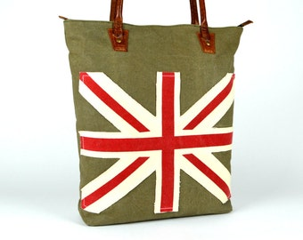 Designer Rustic Tote ~ Laptop Tote ~ Leather Tote ~ Canvas Tote ~ England~Leather Canvas Tote ~ Spacious Handbag ~ Travel Tote