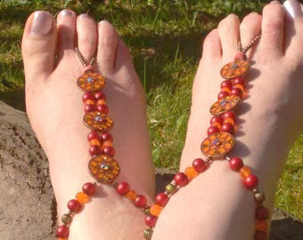 Barefoot Sandals,  Orange and Red Ethnic Barefoot Sandals, Tribal Barefoot Sandals, Foot Jewelry, Boho Footwear, Gypsy Barefoot Sandals
