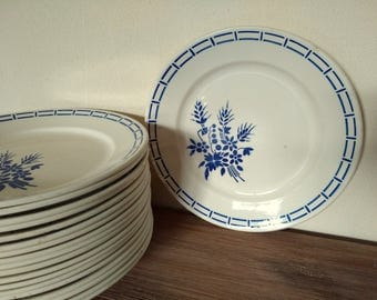 Fench vintage set 18 flat dinner plates Badonviller art déco