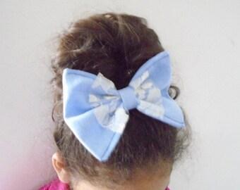 Denim hair bow french barrette, Denim bow hair accessories, Large bow french barrette