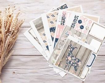 Planner Stickers | Weekly Kit - Floral Deer | Erin Condren Vertical