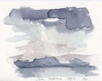 5x7 Original Watercolor Painting - Lake Pontoosuc