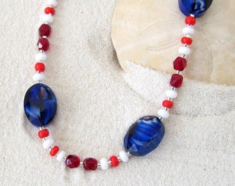 Blue, White & Red Patriotic Necklace Independence Day Colors Necklace - Veteran Themed Jewelry - Red, White, and Blue Seasonal Jewelry