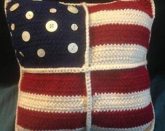 Americana Crocheted Decorative Pillow
