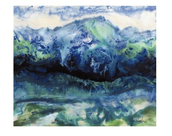 Blue Mountains Landscape Painting Print 8x10 in 11x14 White Mat, Colorado Mountains, Painted Mixed Media Watercolor Print Matted to 11x14