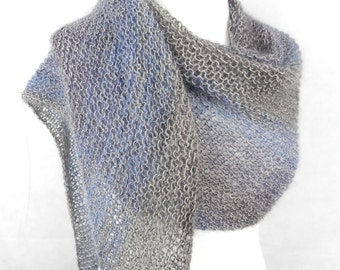 Shawl XL shoulder cloth finest mohair silk edlesSchaltuch Blau Grau taupe hand knitted