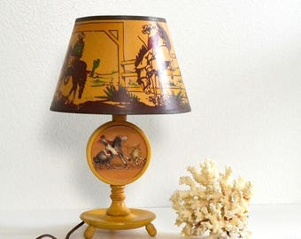 vintage boys cowboy country western lamp rodeo lamp horse lamp Texas lamp cowboy decor