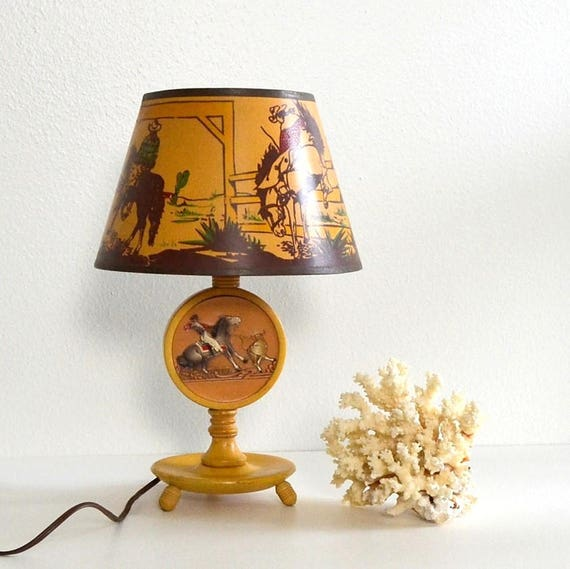 Vintage Boys Cowboy Country Western Lamp Rodeo Lamp Horse Lamp