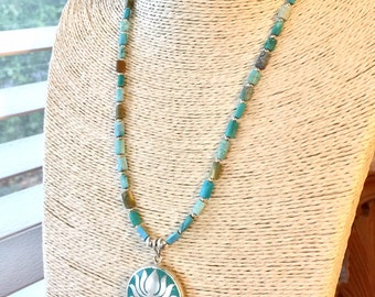 Turquoise lotus flower necklace
