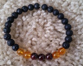 Lava Rock, Citrine and Garnet Bracelet - Healing Crystal Spiritual Gemstone