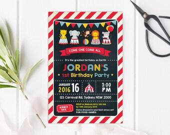 Circus First Birthday Invitation. Carnival Party Printable Invite. Chalkboard. Retro Cute Woodland Animals. Jungle Friends nvite. CAR3