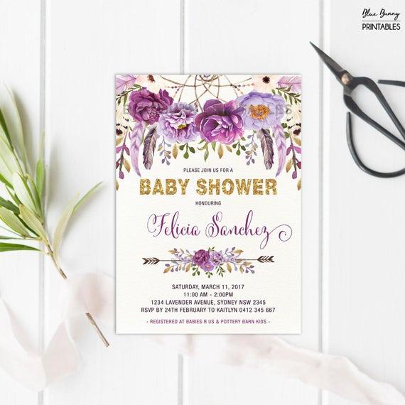 Boho floral baby shower invitation purple rose gold flower invite il570xn filmwisefo